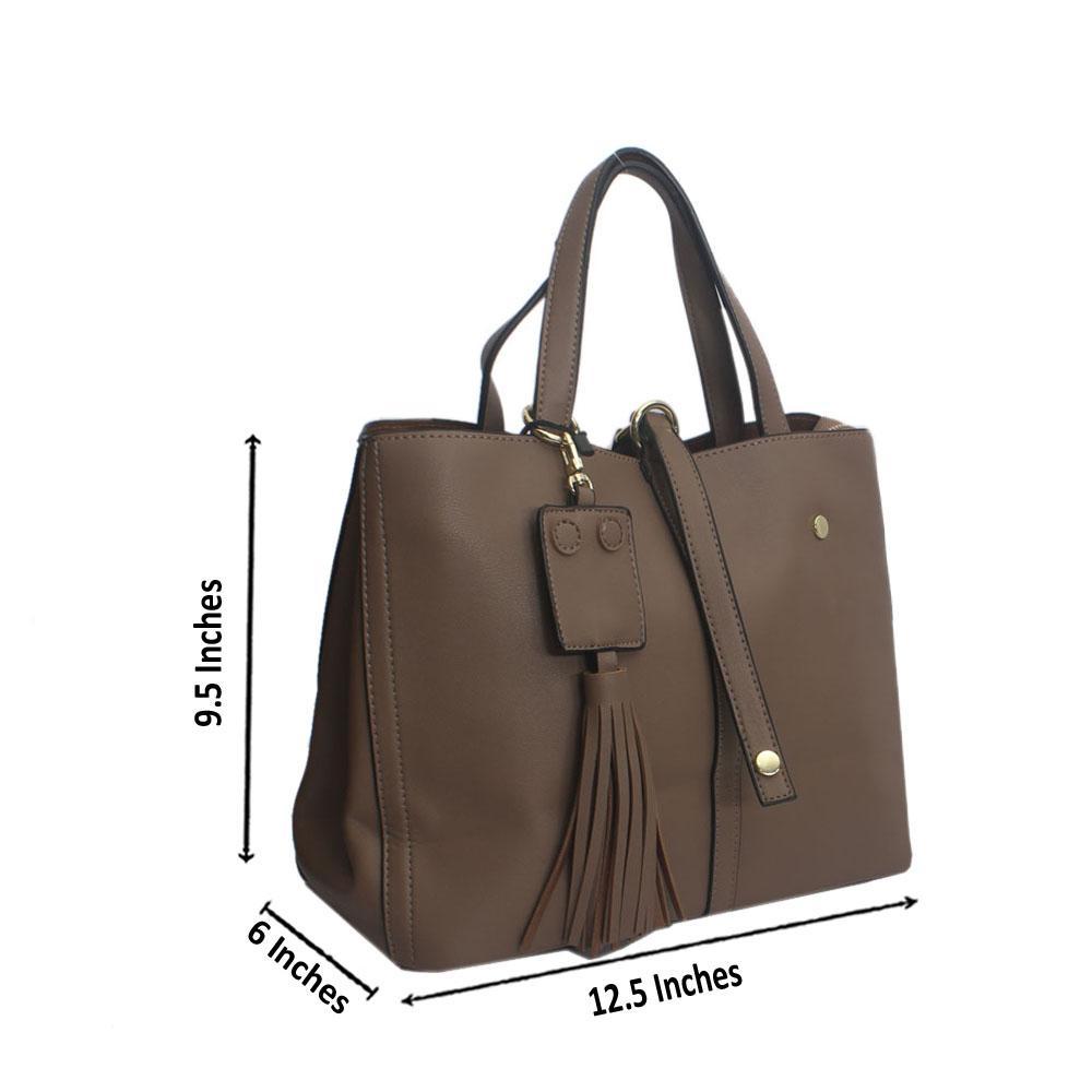 Khaki Point Stud Leather Handbag