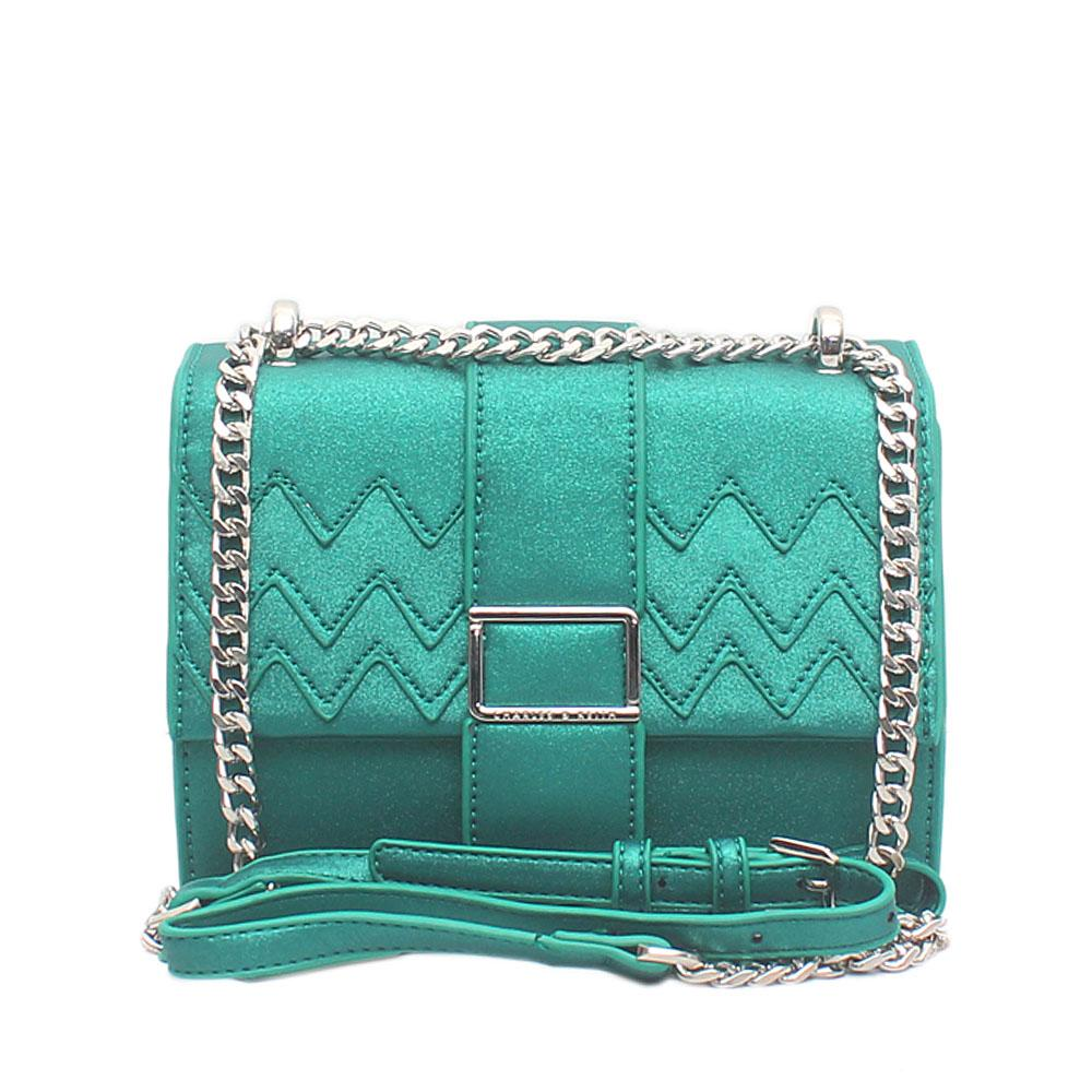 London Style Green Leather Mini Cross Body Bag