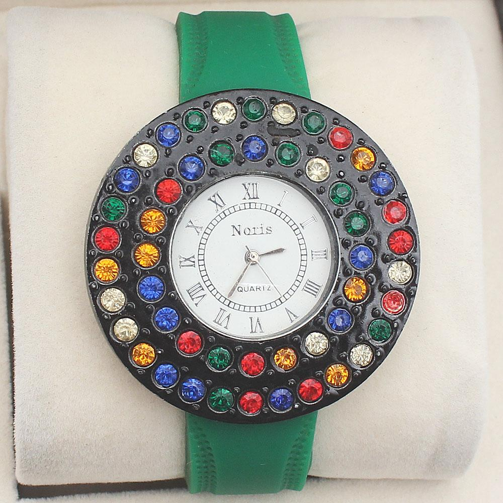 Noris Green Studded Rubber Strap Ladies Watch