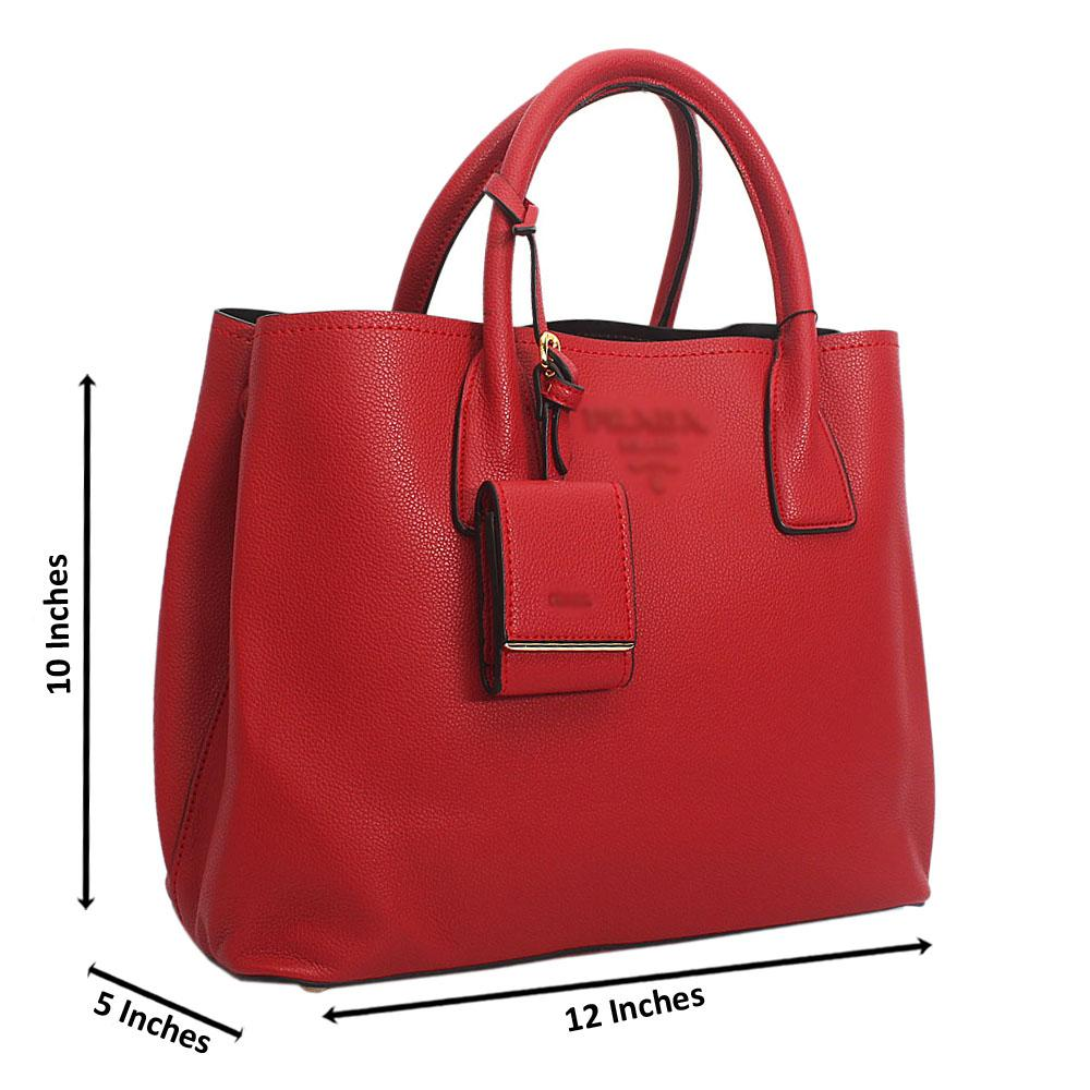 Red Monochrome Cowhide Leather Tote Handbag