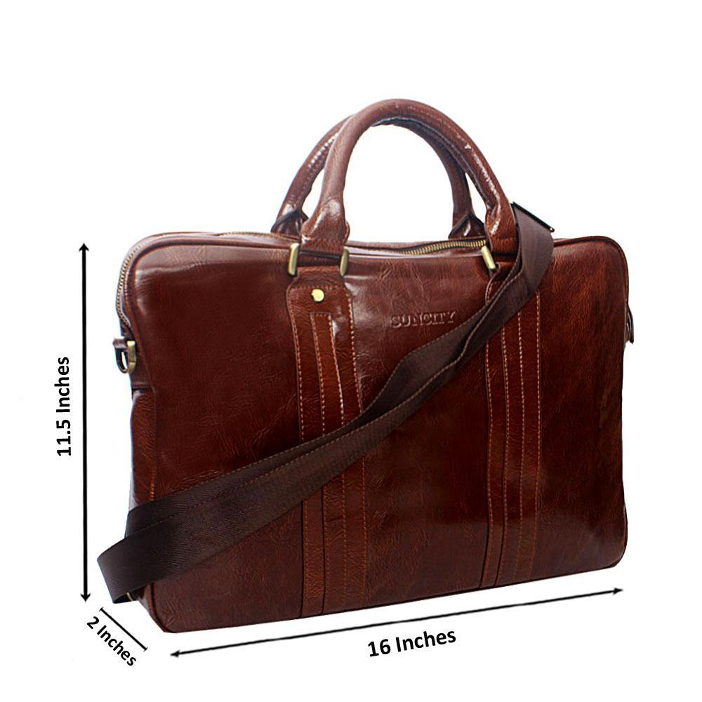 Brown Structured Leather  Briefcase