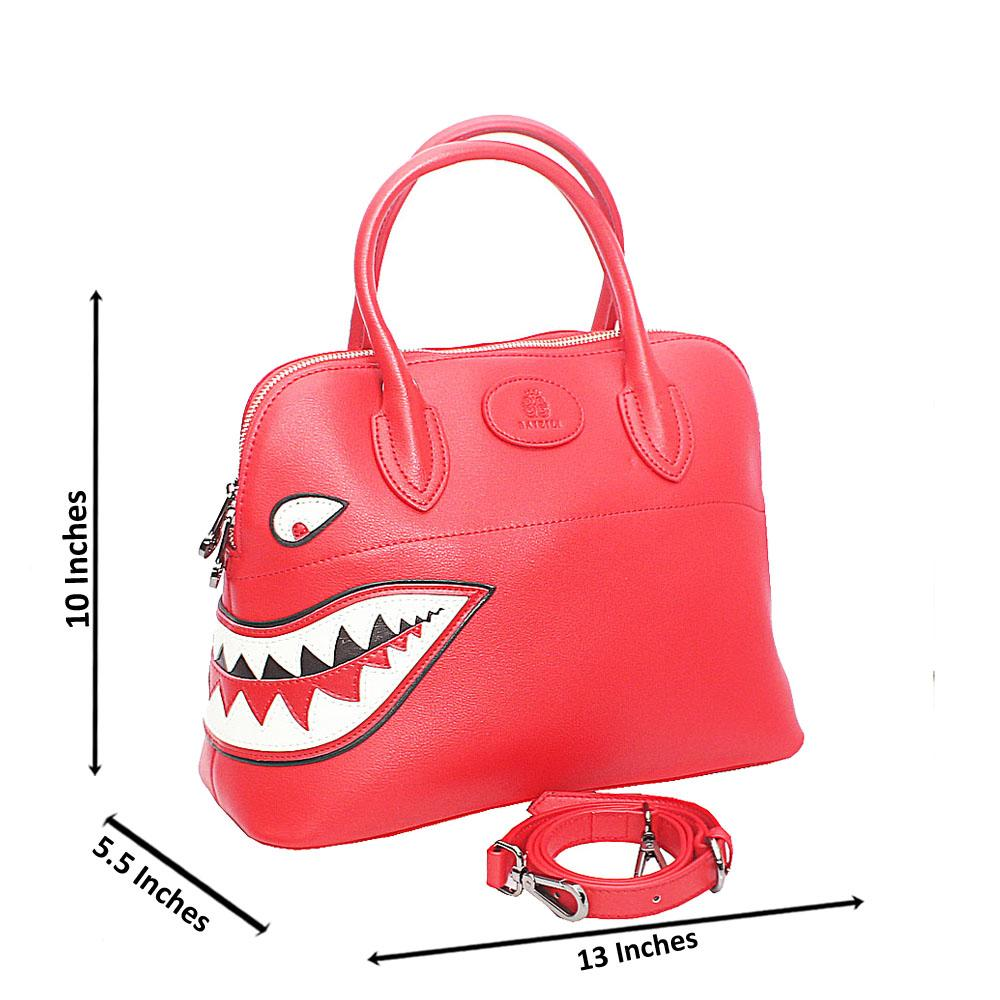 Baizili Red Dual Style Italian Leather Tote Handbag