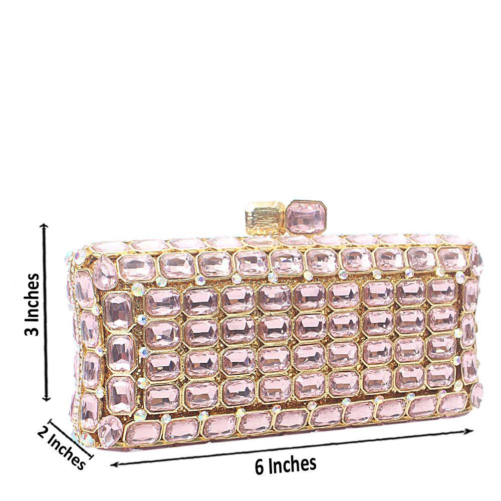 Pink Diamante Crystal Hard Clutch Purse