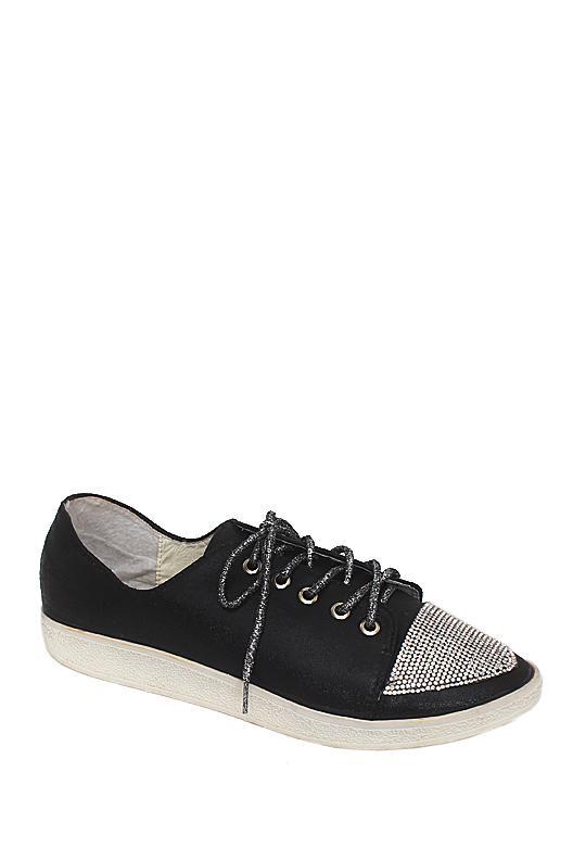 Yoyo Black Leather Ladies Sneakers
