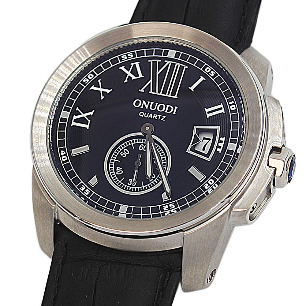 Shanghai Nudi  Steel Black Face Black Leather Pilot Watch
