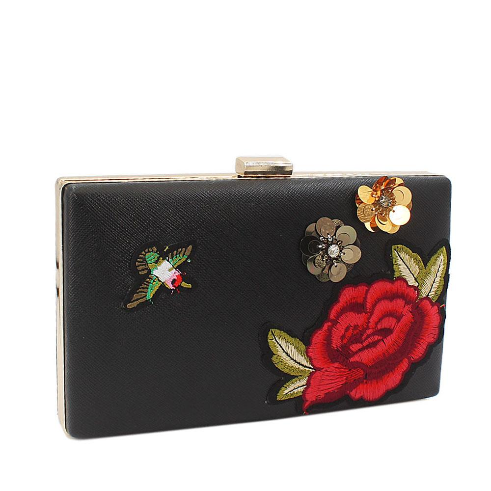Black Flora Embroided Leather Clutch Purse