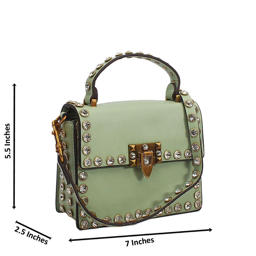 Light Crystal Green Studded Etched Tuscany Leather Mini Handbag