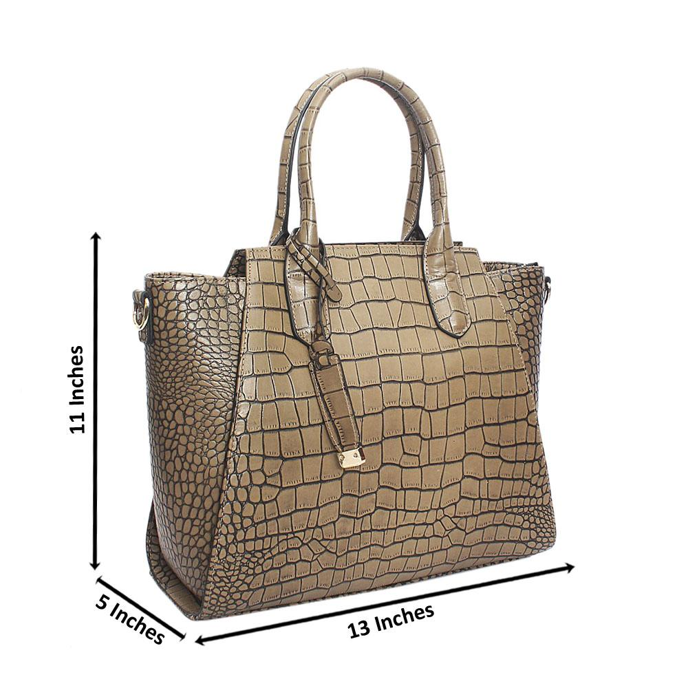 Ariana Khaki Croc Montana Leather Handbag