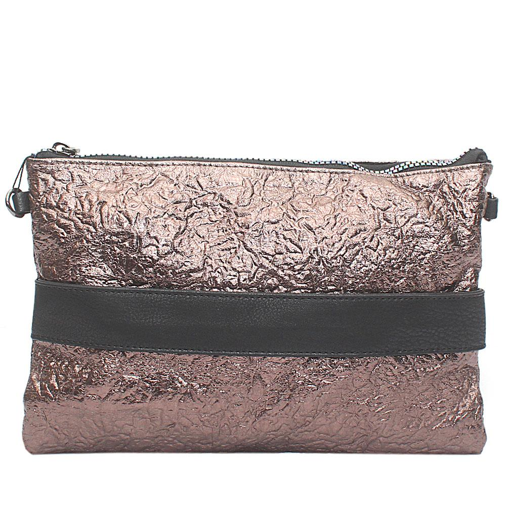 Metallic Bronze Clatier Leather Flat Purse