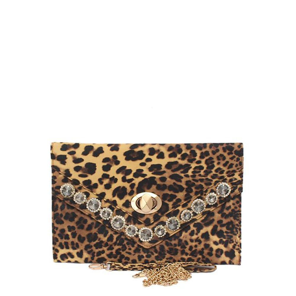 Fashion Leopard Skin Studded Clutch Purse