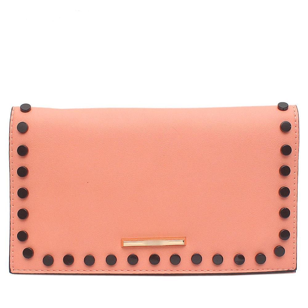 Pink Studded Leather Flat Clutch