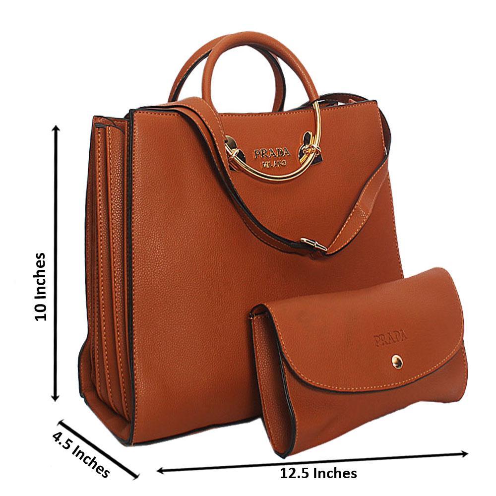 Brown Natalie Leather Metal Handle Tote Handbag