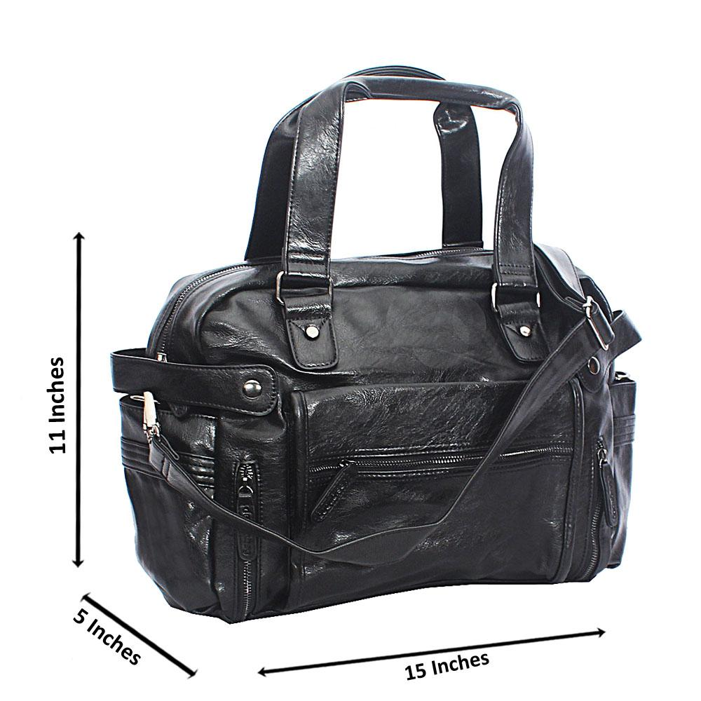 Omelly Black Zip Styled Cassania Leather Man Bag