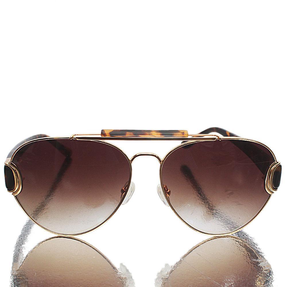 Gold Brown Aviator Sunglasses