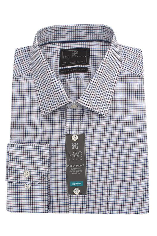 M&S Collection Multicolor Check Pure Cotton Regular Fit L/Sleeve Men Shirt