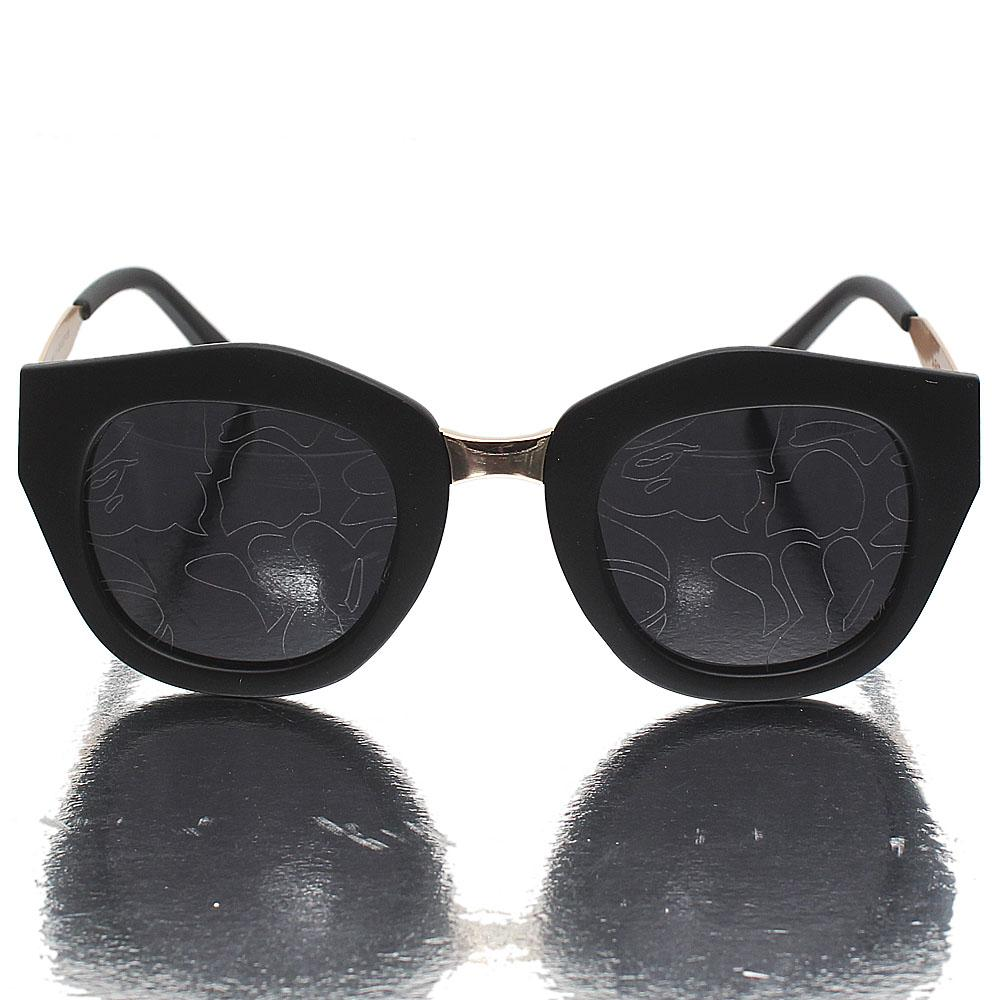 Gold Black Wayfarer Dark Patterned Lens Sunglasses