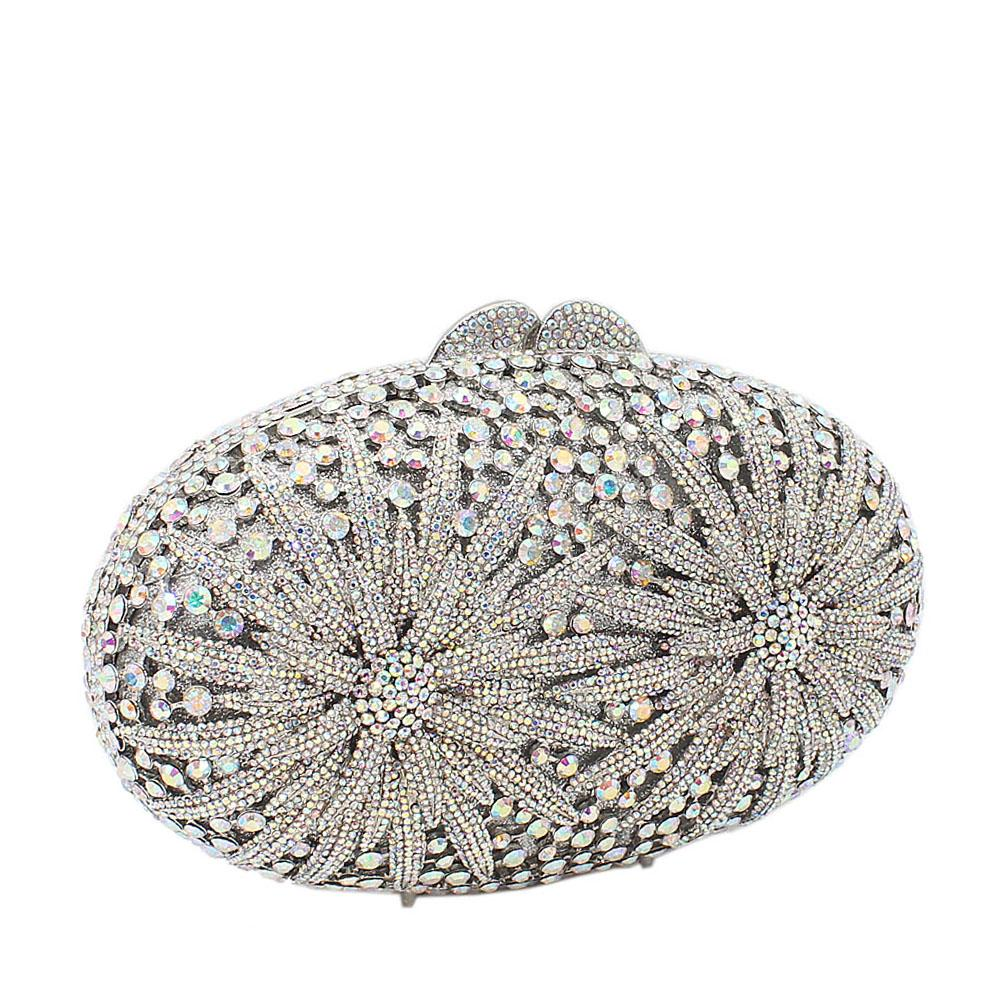 Silver Twin Fireworks Diamante Crystals Clutch Purse