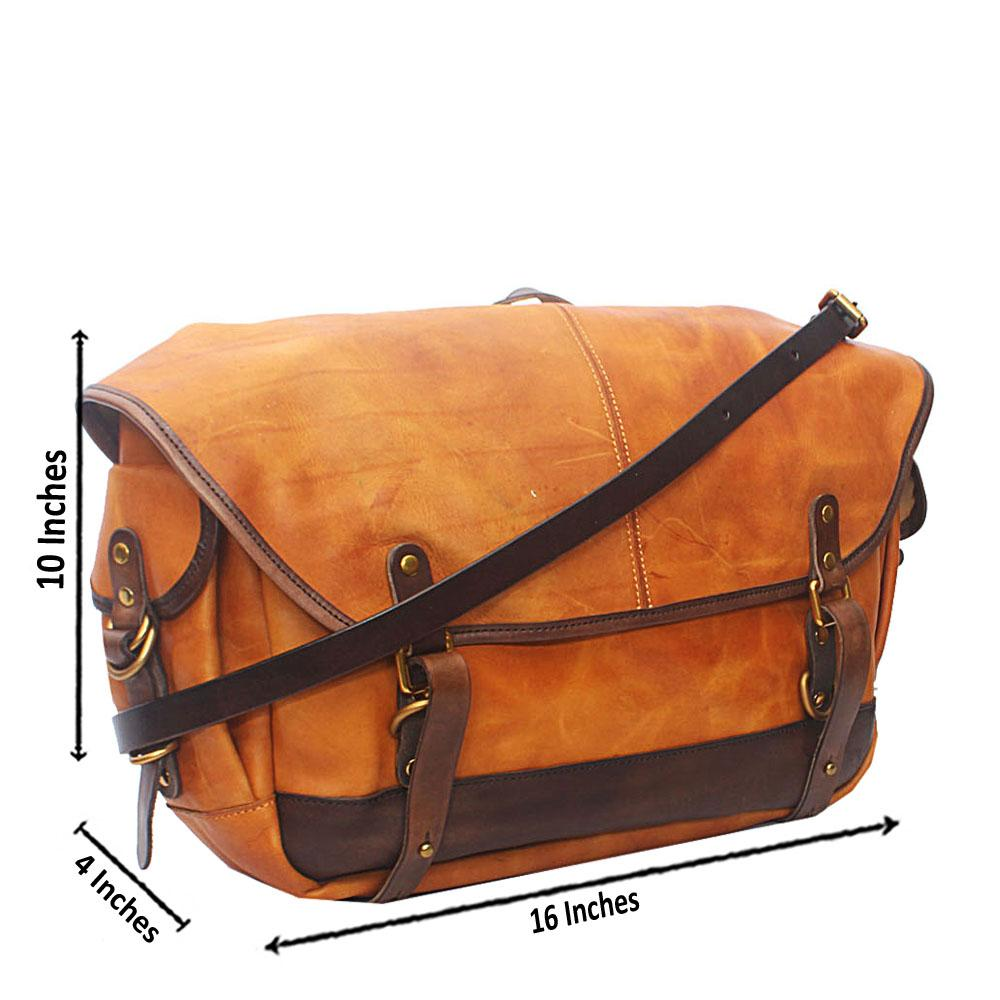 Virtigo Brown Yellow Cow-Leather Messenger Bag