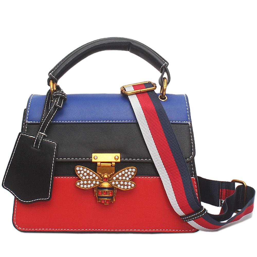 Blue Black Red Leather Q.M Small Bag