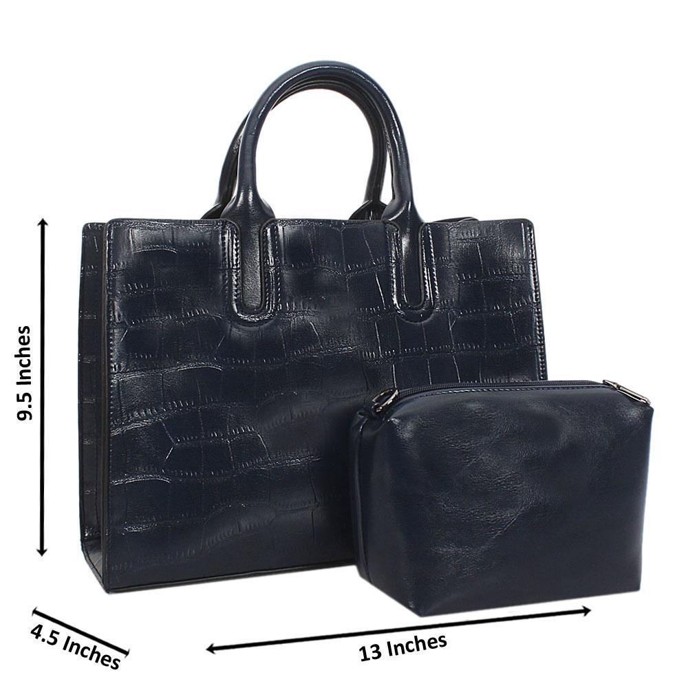 Navy Alice Croc Leather Tote Handbag