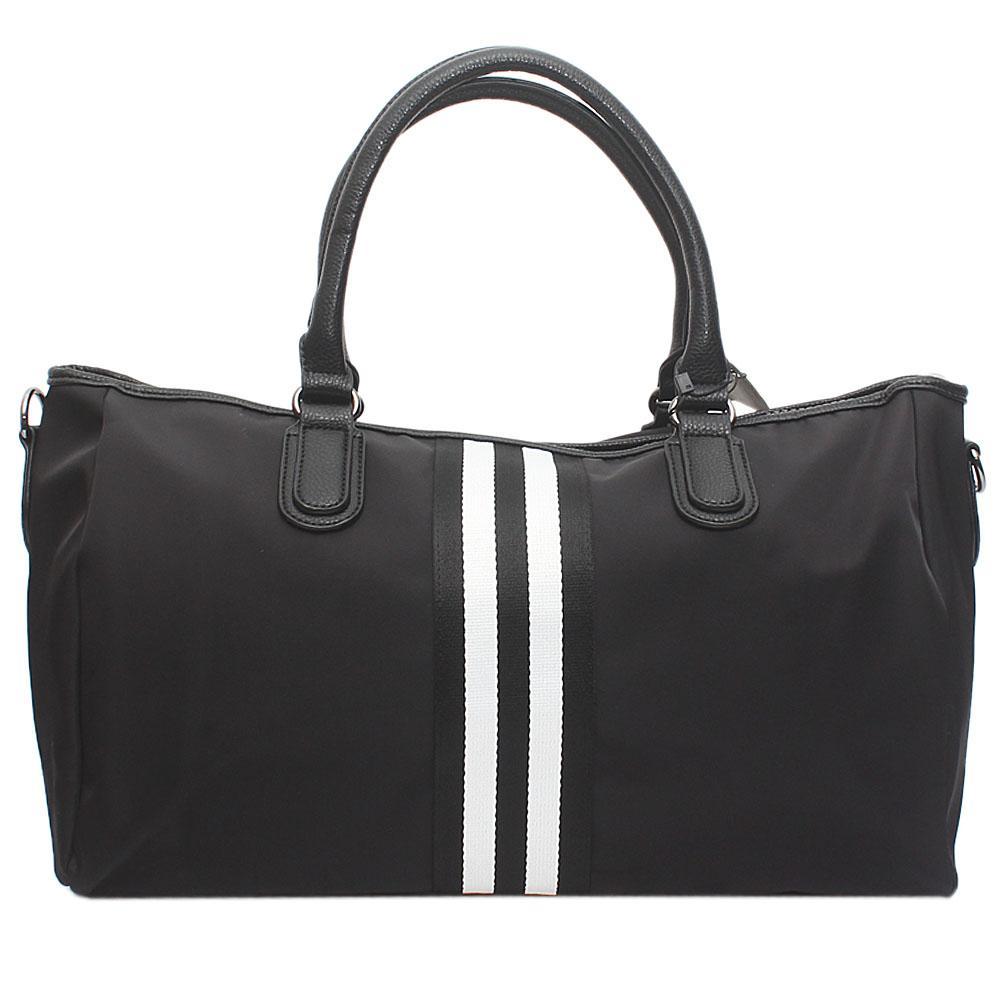 London Style Black White Fabric Leather Big Handbag
