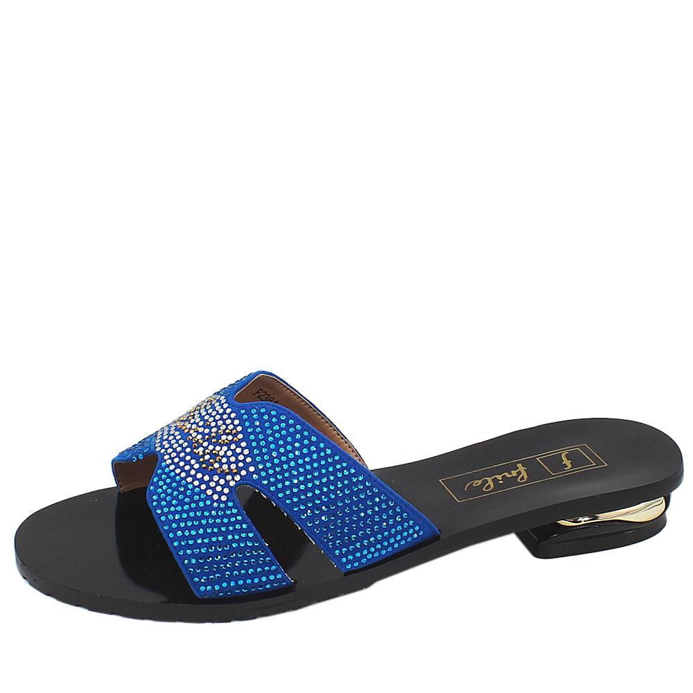 Black Blue Studded Leather Low Heel Ladies Slippers