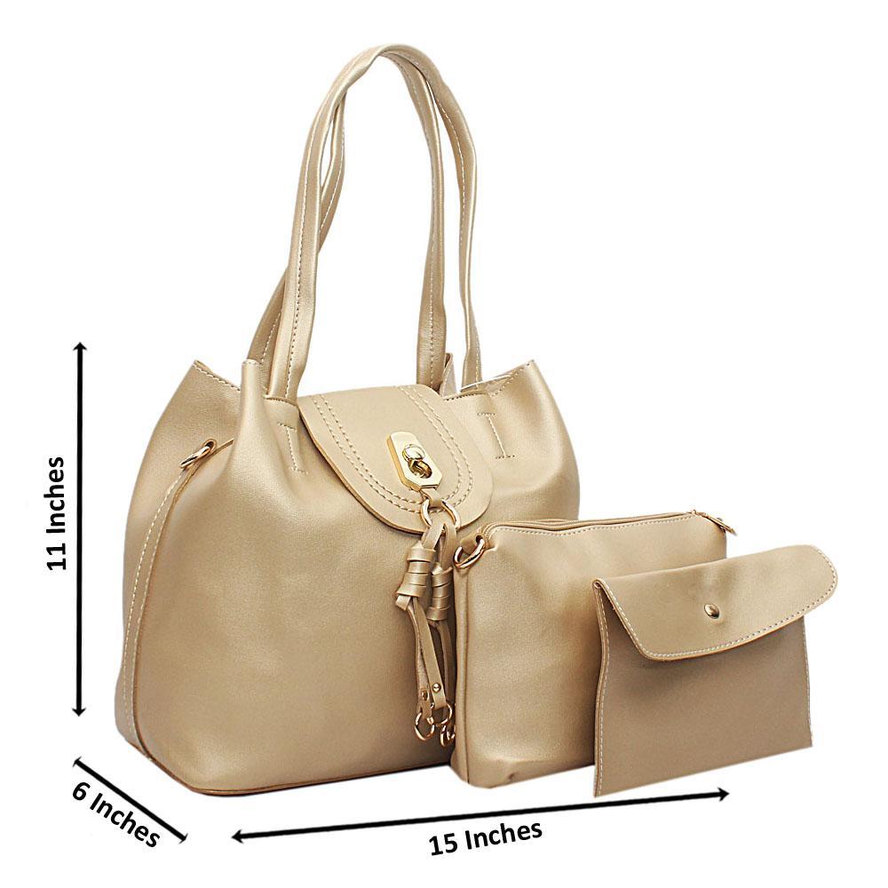 Gold Leather Medium Ella Handbag