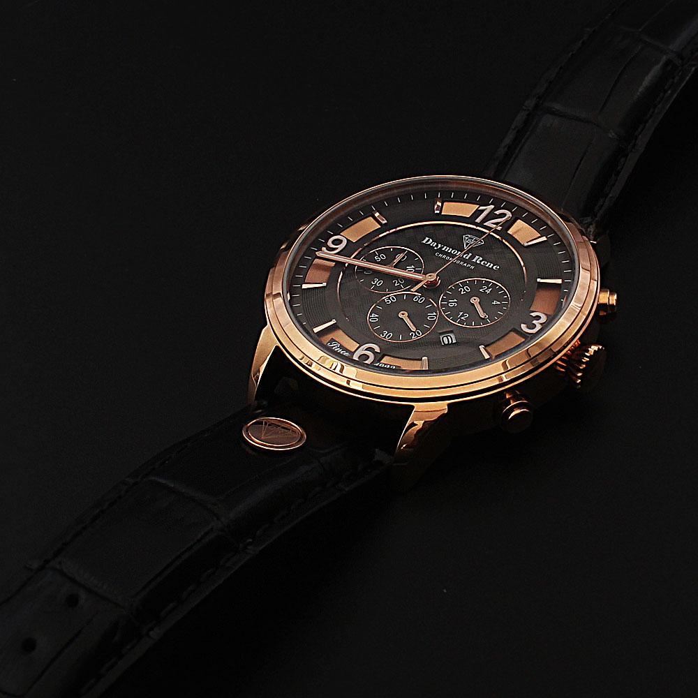 Daymond Rene 3 ATM Gold Black Leather Chronograph Watch