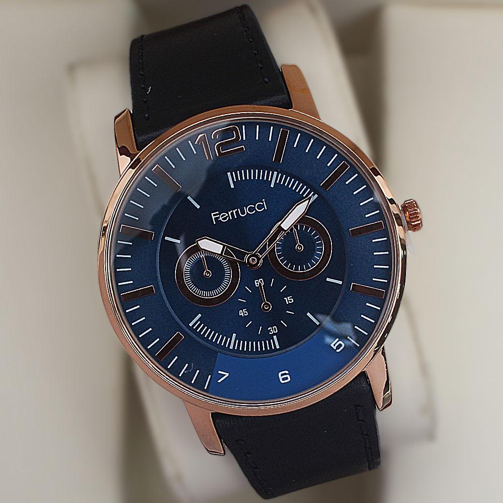 Ferrucci Platini Gold Steel Black Leather Fashion Watch