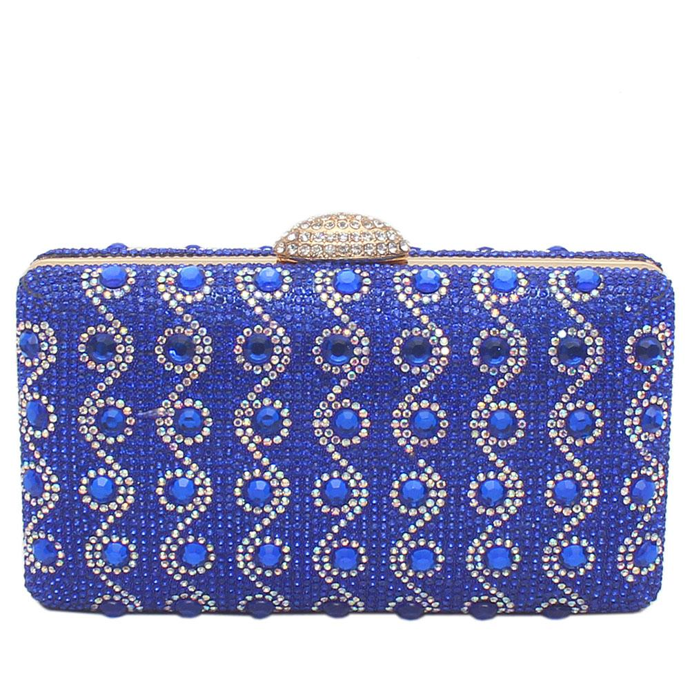 Royal Blue Glitz Studded Premium Hard Clutch