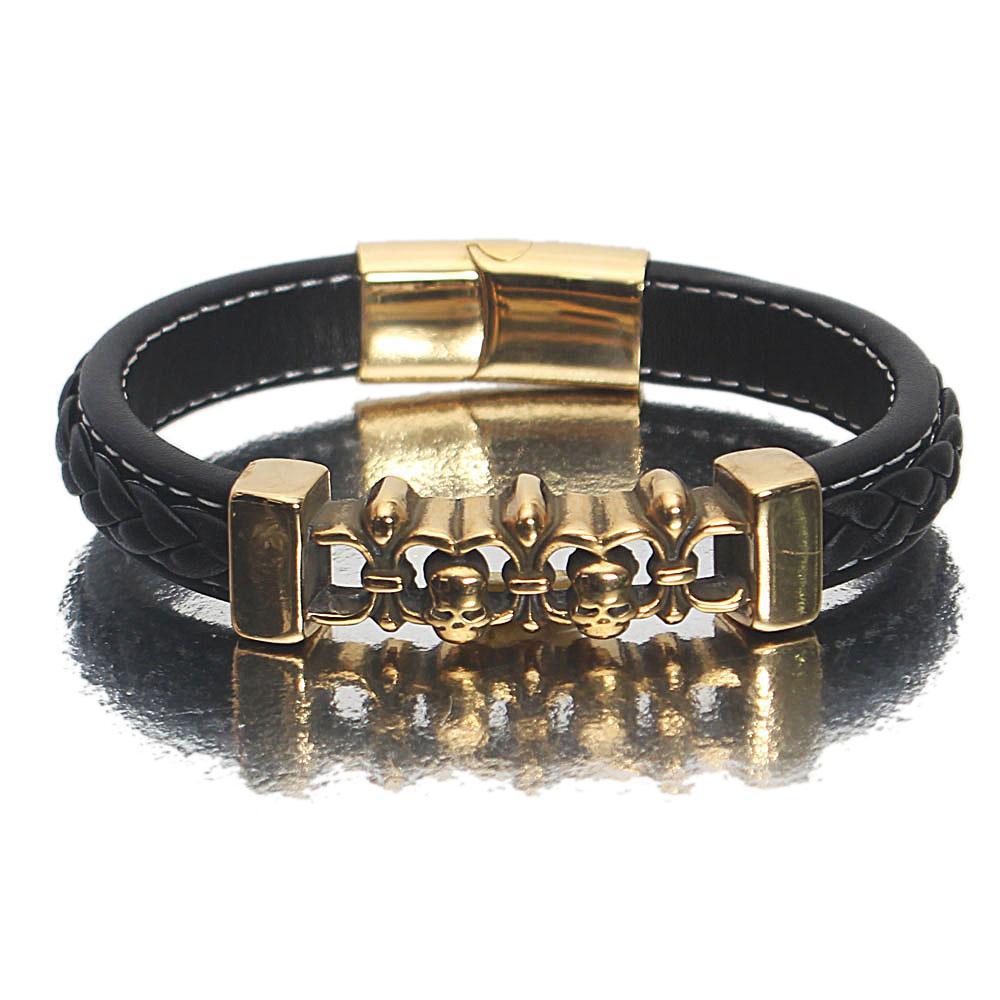 Gold Black Etched Leather Bracelet