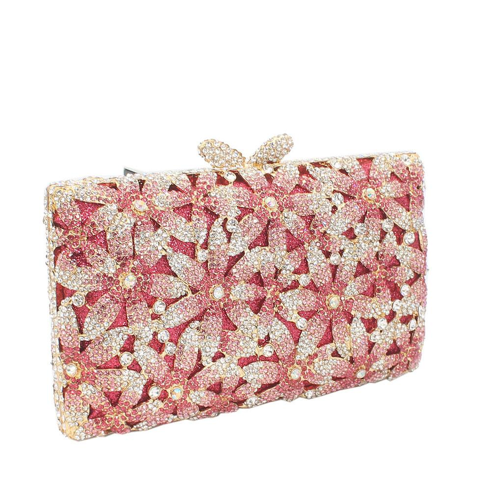 Gold Peach Diamante Crystal Clutch Purse