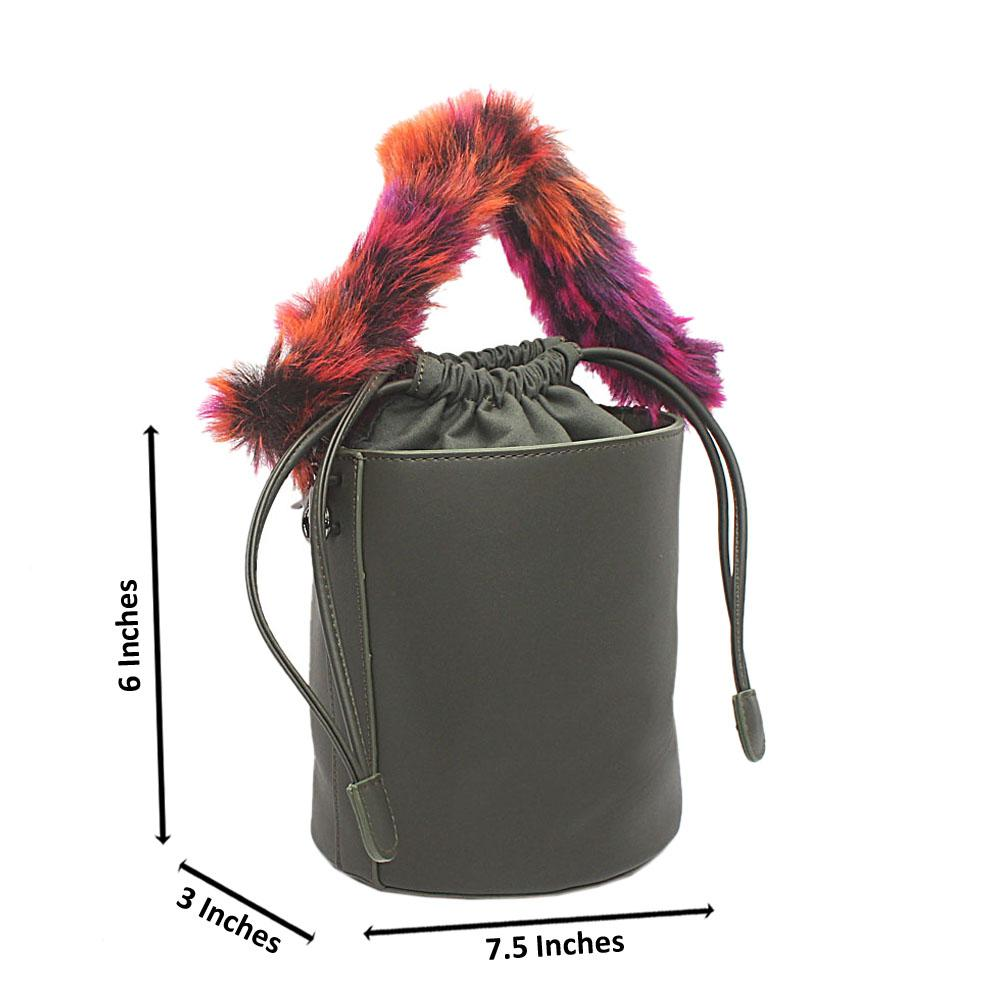 Army Green Leather Fury Handle Bucket Bag