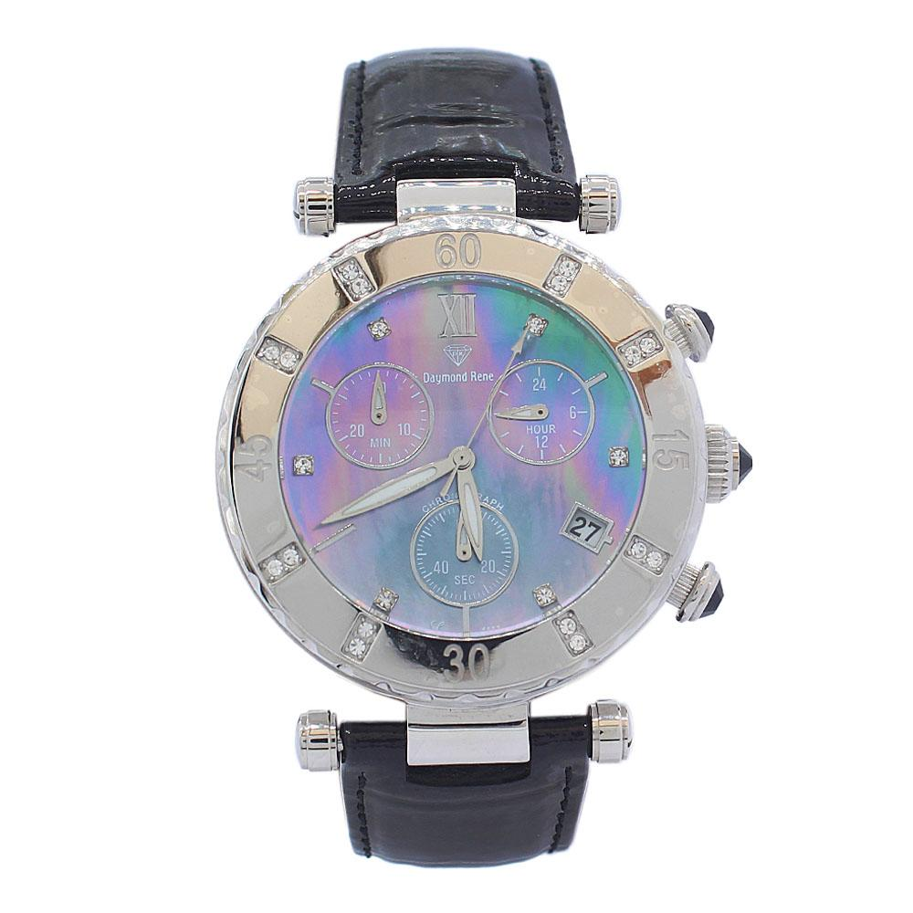 DR 10ATM Silver Ice Black Patent Leather Ladies Chronograph Watch