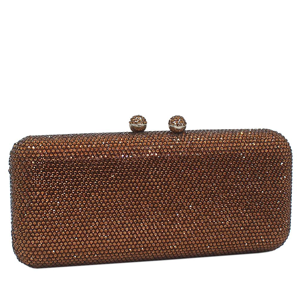 Coffee Crystals Studded Clutch Purse