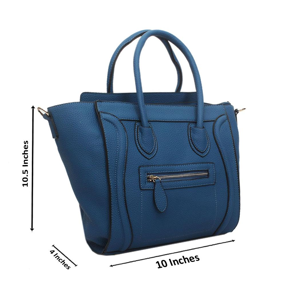 Blue Leather Medium Luggage Handbag