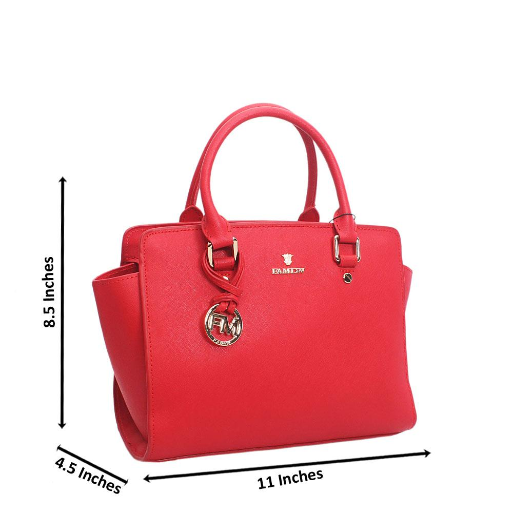 Elegant Red Top Zip Jet Tuscany Leather Tote Handbag