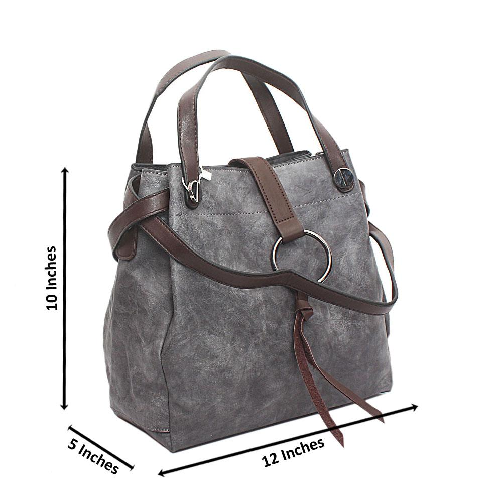 Gray Brown Leather Shoulder Bag