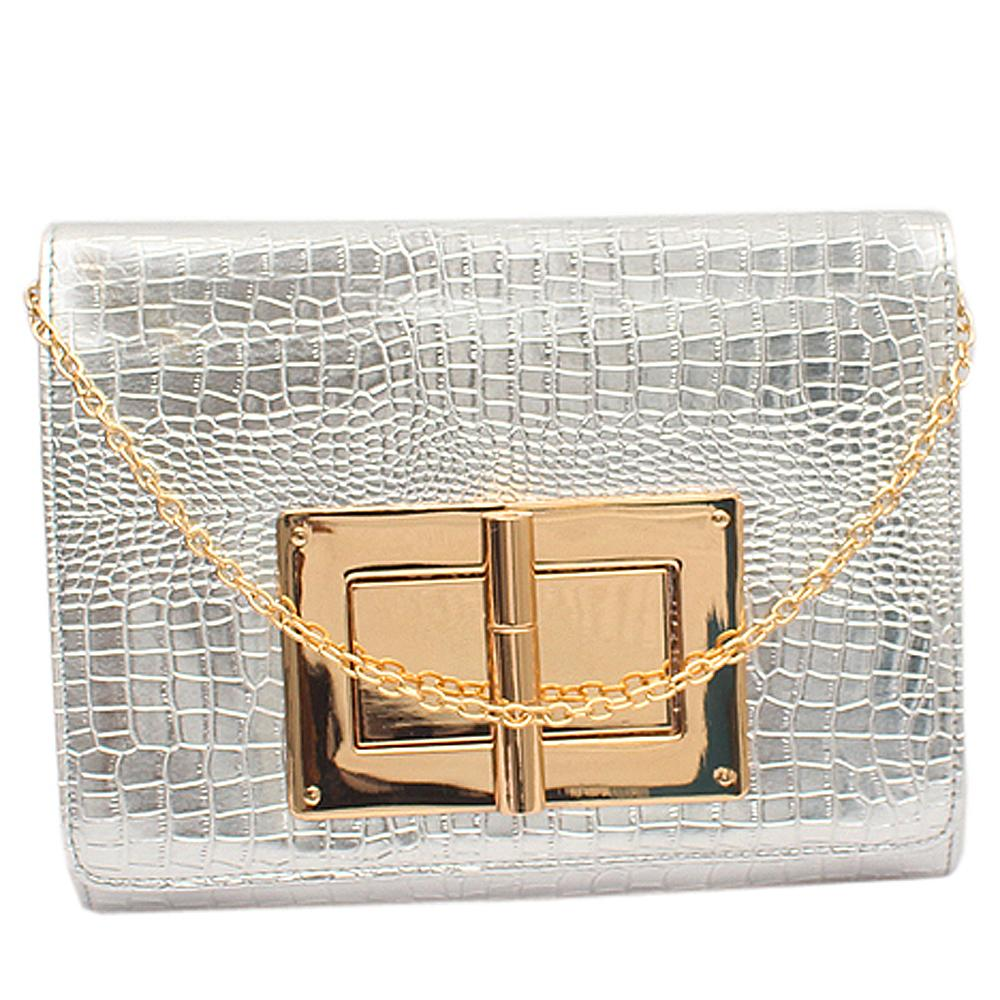 Fashion Silver Croc Leather Ladies Clutch Bag