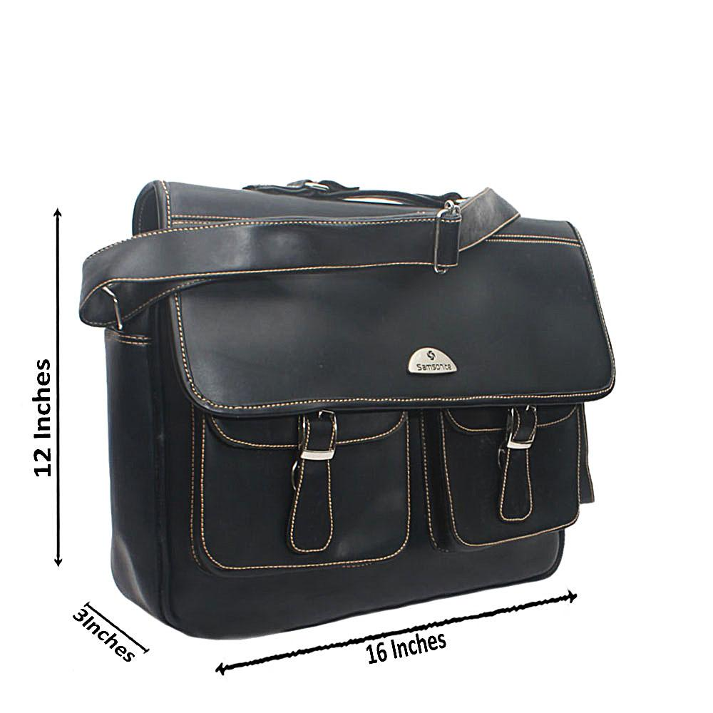Black Samsonia Leather Messenger Bag