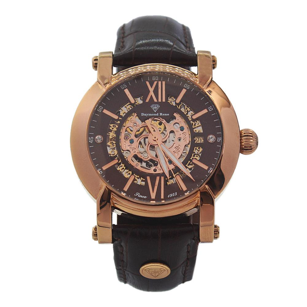 DR 3ATM Bronze Coffee Leather Automatic Skeletal Watch