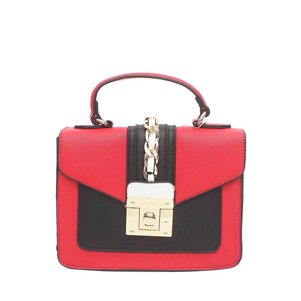 Red Black Leather Mini Handle Bag