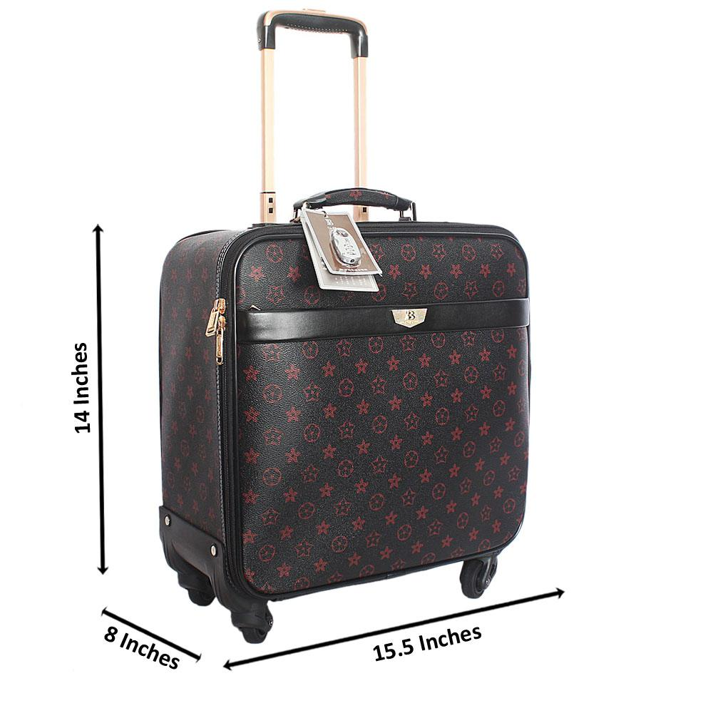 Black Red Stallion Leather 14 Inch Pilot Suitcase Wt Padlock