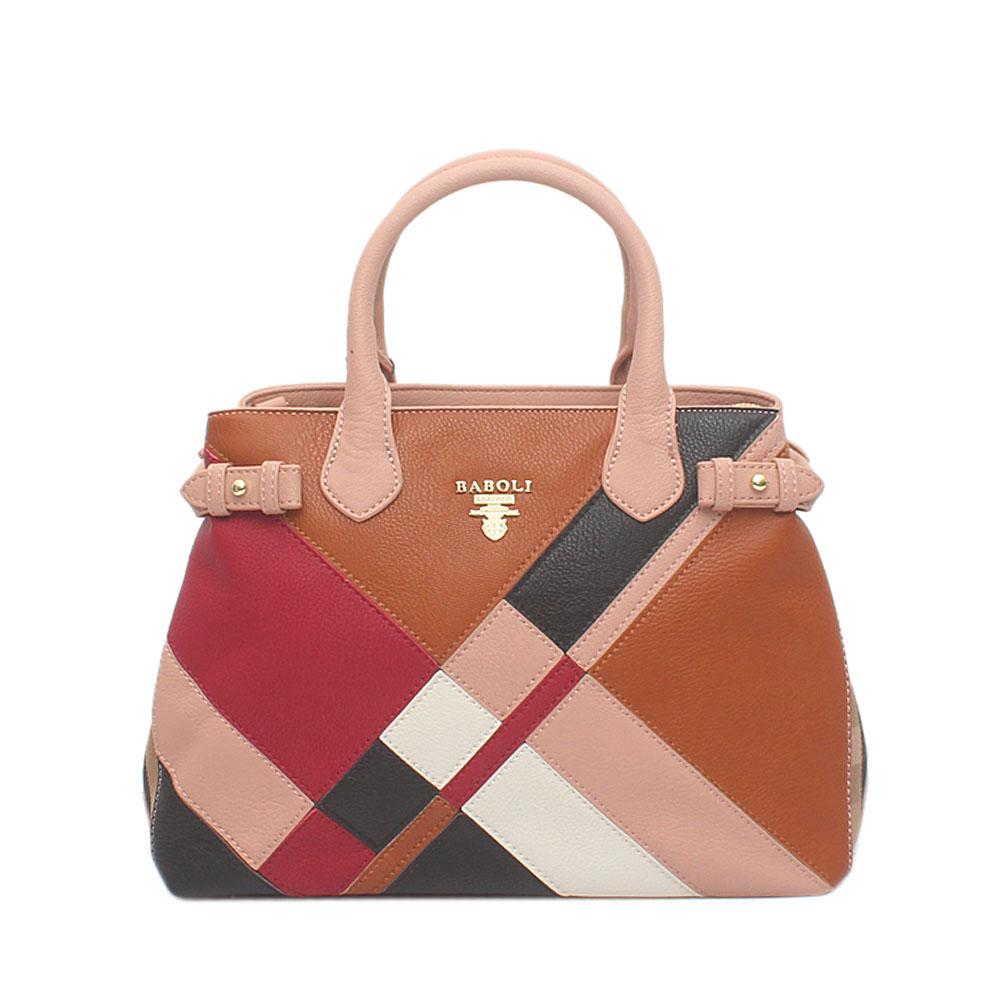 Baboli Peach Brown Wine Leather Patchwork Bag