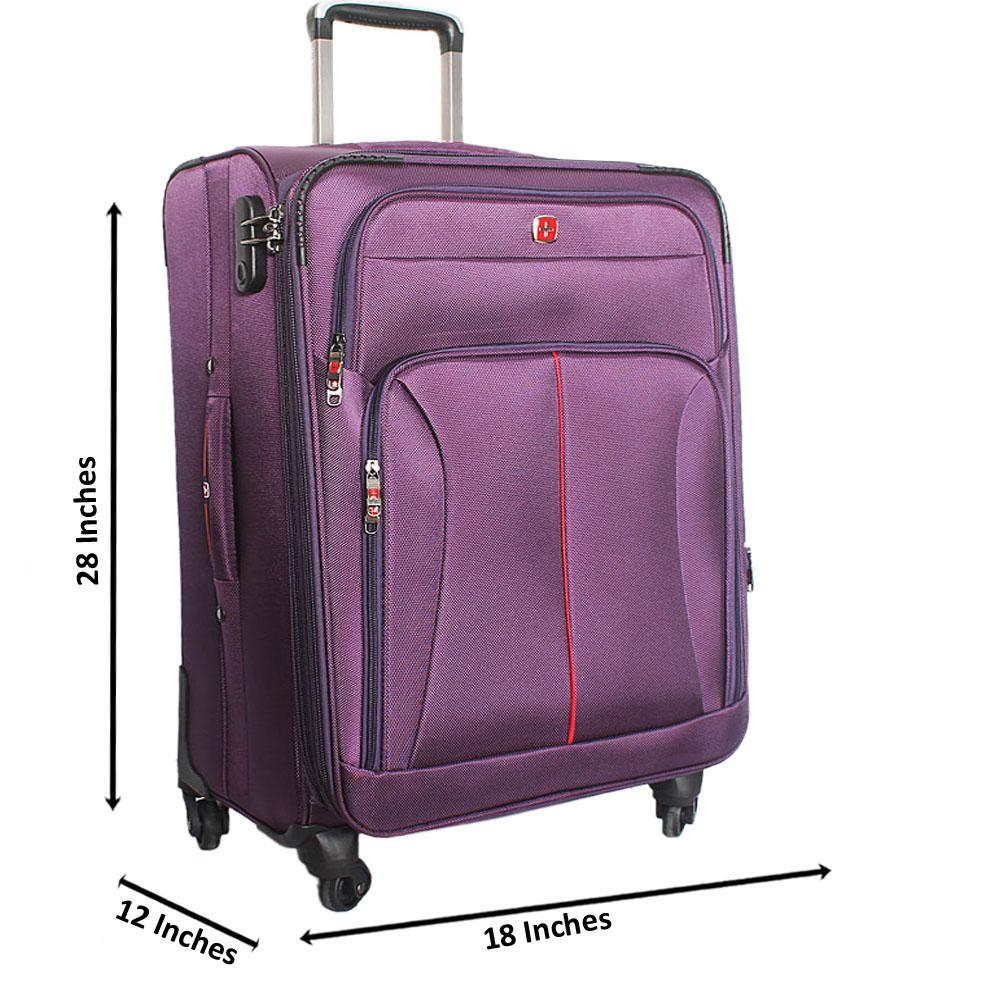 Saint Purple 28 Inch Fabric 4 Wheels Spinners Large Suitcase