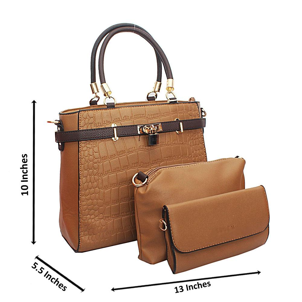 Light Brown Croc Leather Birkin Top Handle Handbag