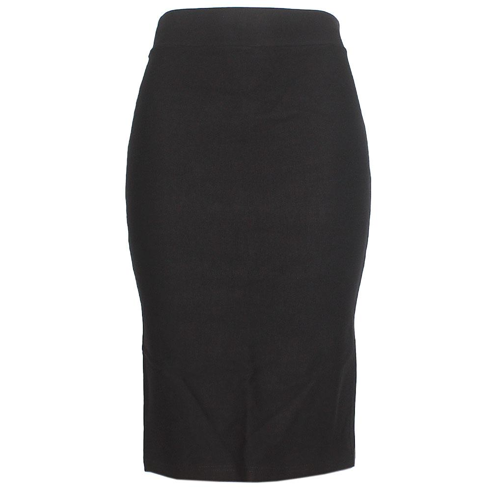 Black Cotton Stretch Skirt