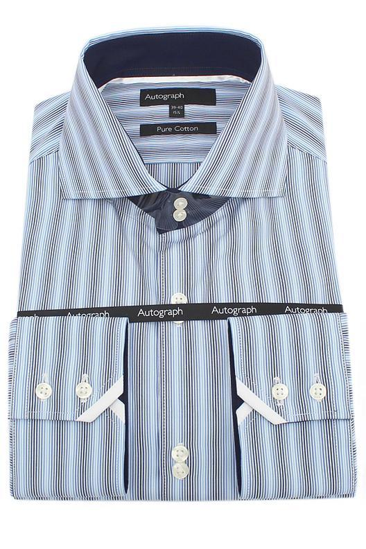 M & S Autograph Blue Mix Striped Cotton L/Sleeve Men Shirt