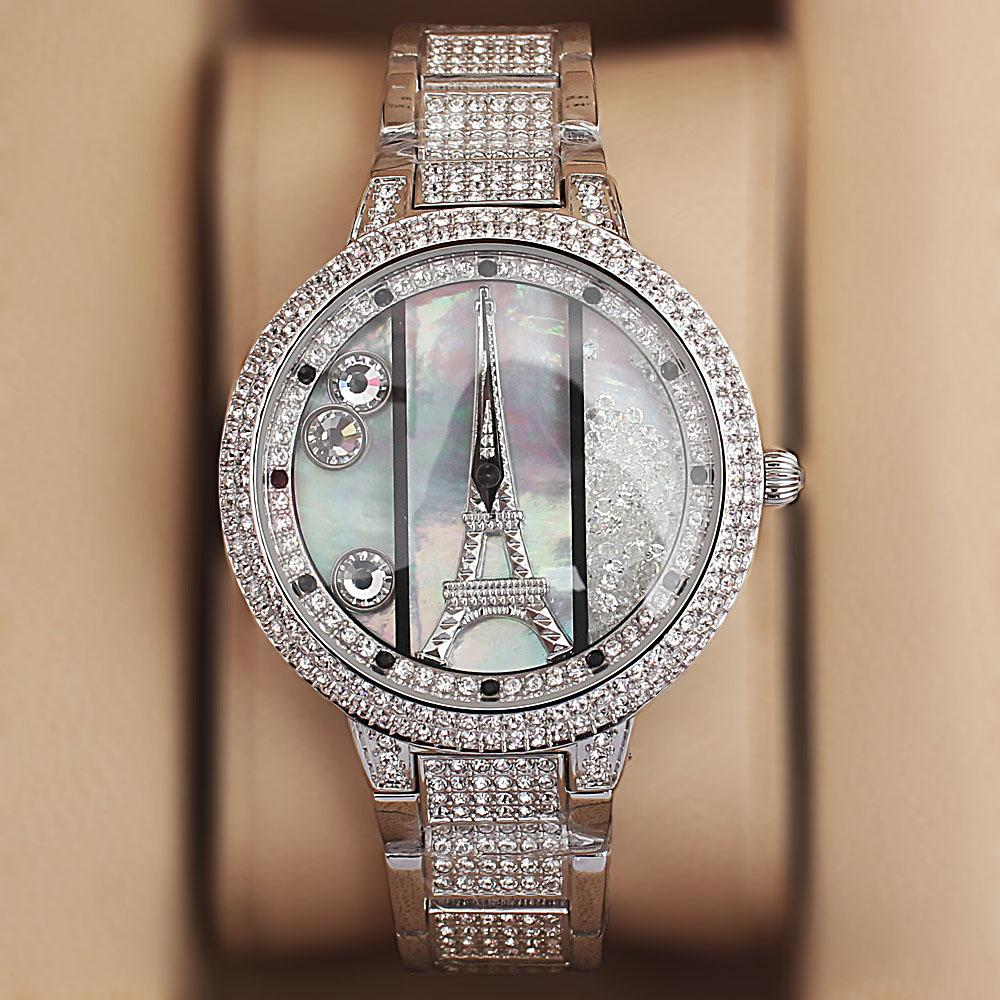 Davena Rose Silver Crystal Studded Ladies Luxury Watch