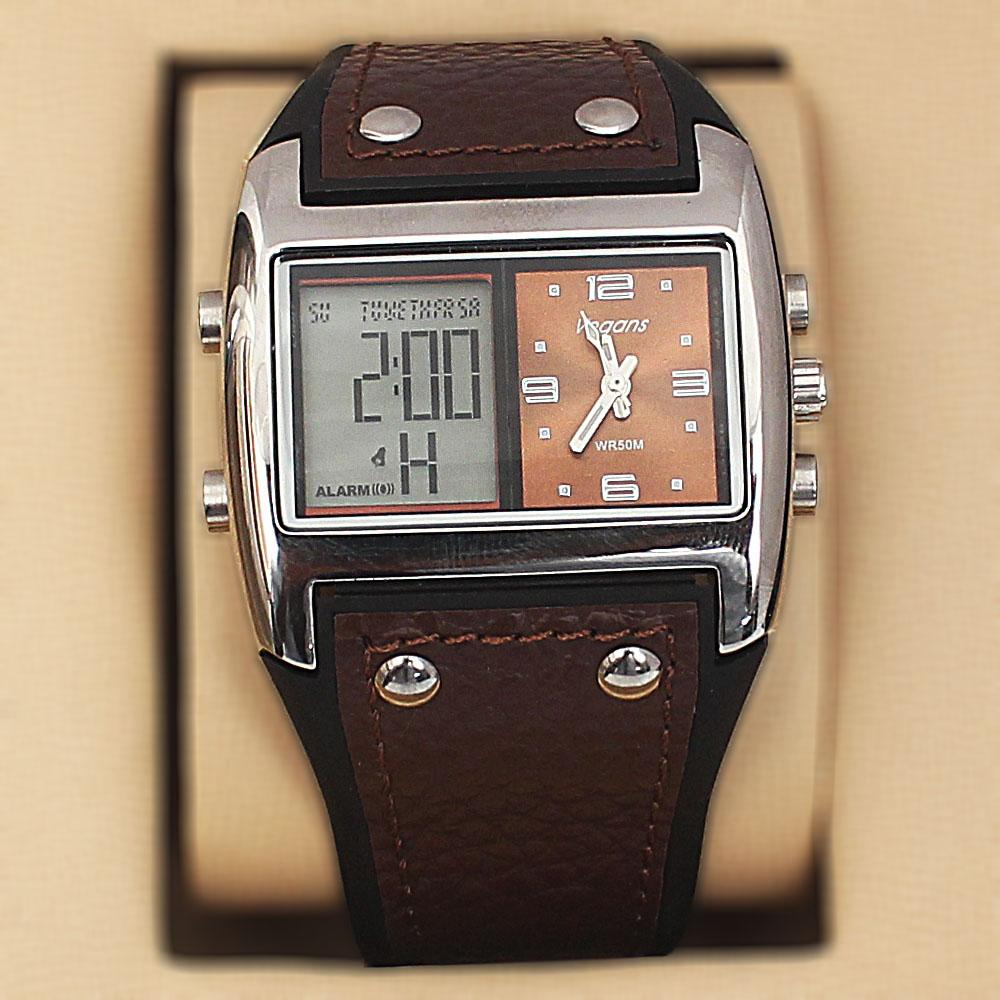 Vegans Brown Rubber Leather Water Resistant 50M Analog-Digital Watch